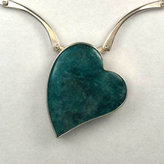 Apatite Heart necklace hand made jewelry