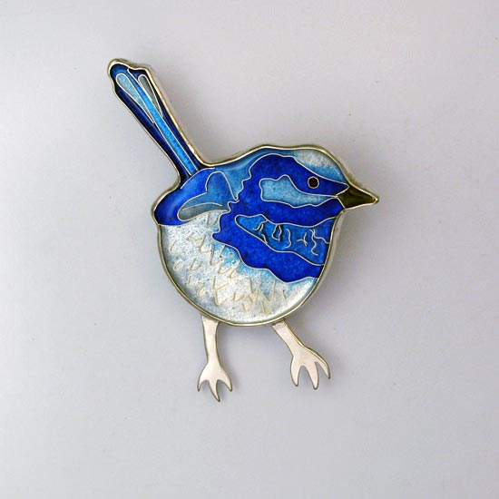 Blue Wren Brooch