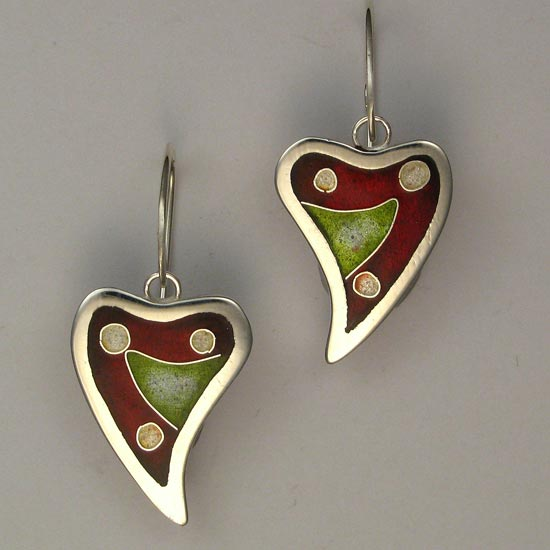Cloisonné Hearts earrings