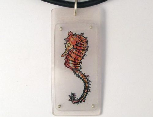 orange seahorse necklace
