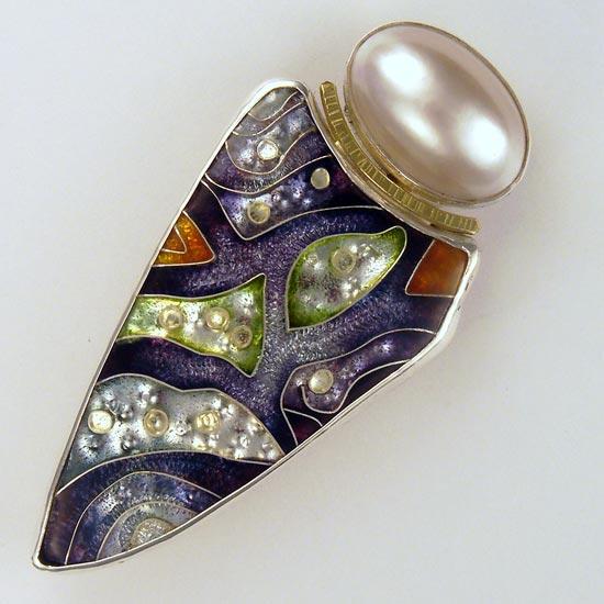 Purple Tracks cloisonné brooch