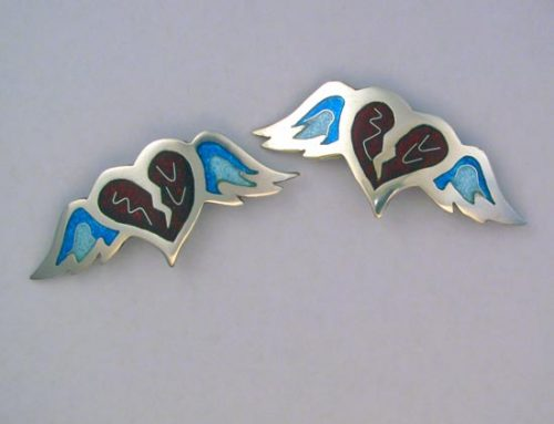vitreous enamel – 'winged heart' brooch