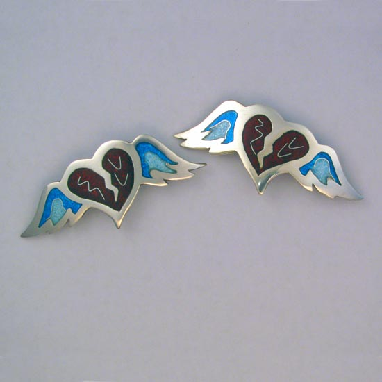 Winged Heart cloisonné brooch
