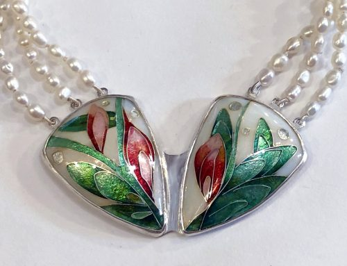 Cloisonné enamel flowers necklace with pearl necklace