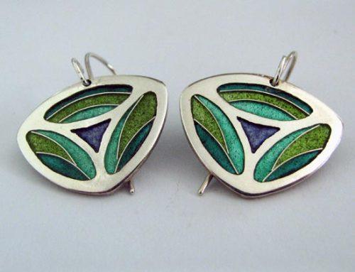 vitreous enamel – 'peacock' earrings