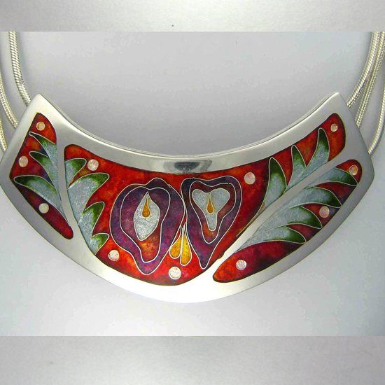 cloisonné enamel flower necklace