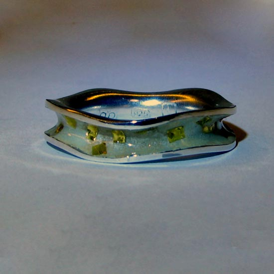 enamel ring with gold foils