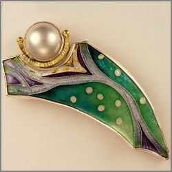 'Tracking Series' cloisonne brooch