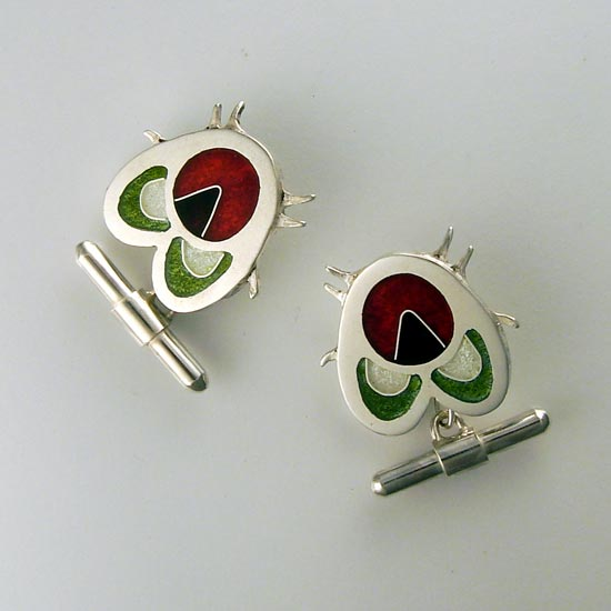 Fly Cuff links cloisonne