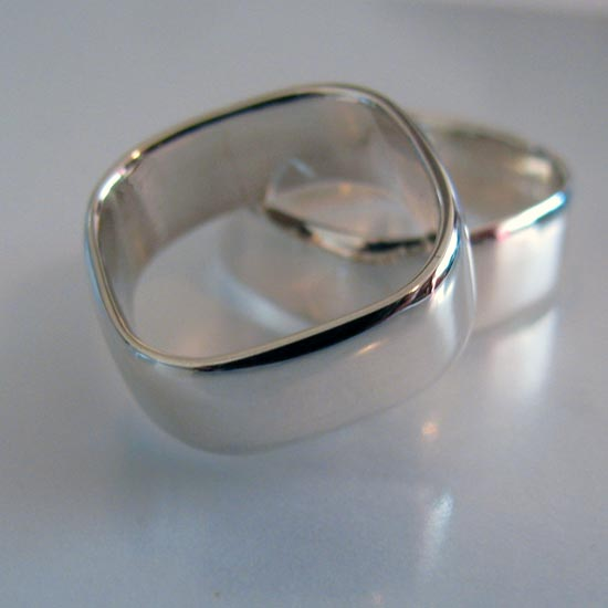Rounded Square Wedder Ring Made to order