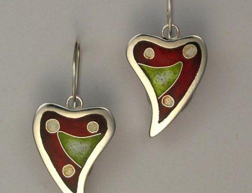 vitreous enamel – cloisonné heart earrings