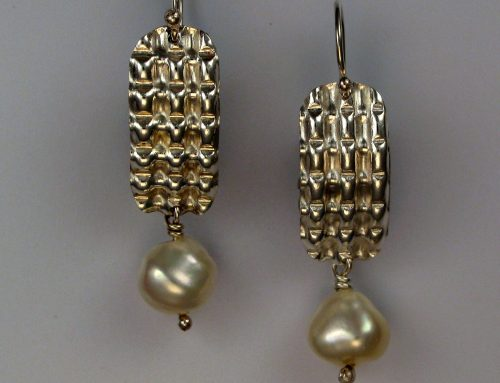 pearl earrings ~ waffle texture