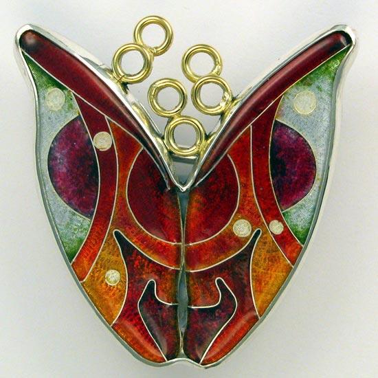 vitreous enamel – cloisonné tulip brooch