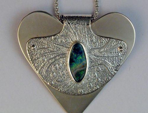 heart necklace, etched sterling silver, boulder opal