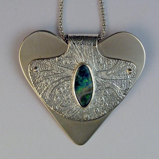 heart necklace, etched sterling silver, boulder opal