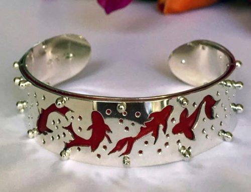Koi bangle, sterling silver, anodised aluminium