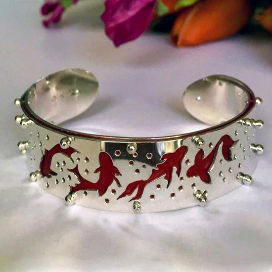 Koi bangle, sterling silver, anodised aluminium