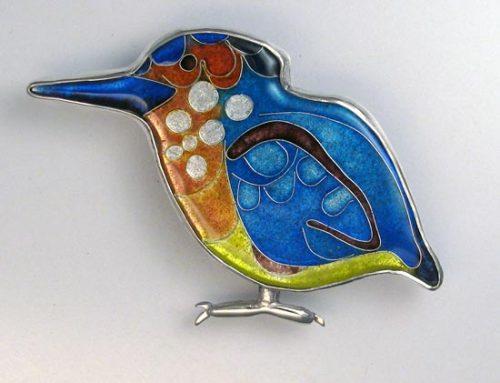 azure kingfisher enamel brooch