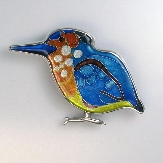 azure kingfisher enamel brooch