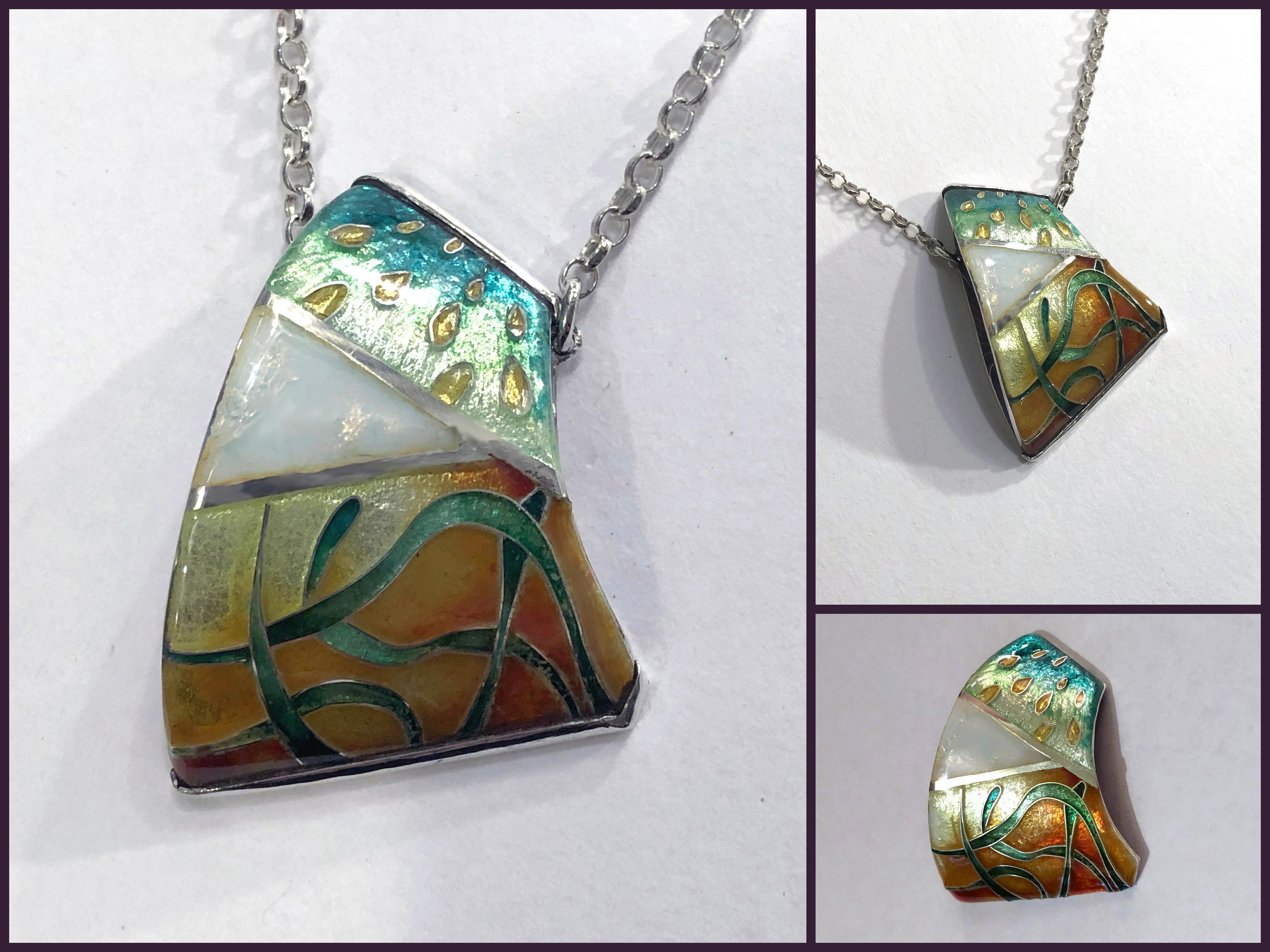 spring rain – cloisonné necklace